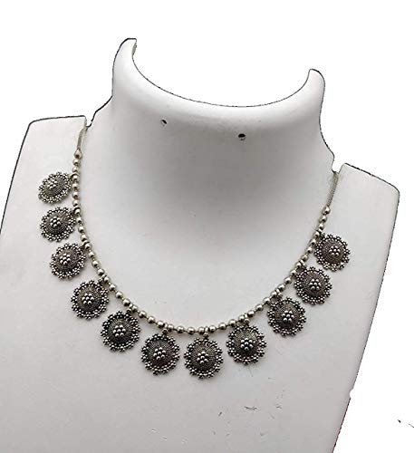 Anigalan - Oxidized Silver Simple Tops Flower Shape Choker Necklace for Women Traditional Oxidised Jewellery Choker