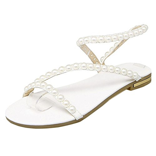 COOLCEPT Femmes Beaded Mariage Sandales Ete Beach Robe Appartements Chaussures Blanc