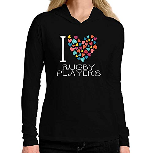 Idakoos I Love Rugby Players Colorful Hearts Damen Kapuze Langarm T-Shirt M -