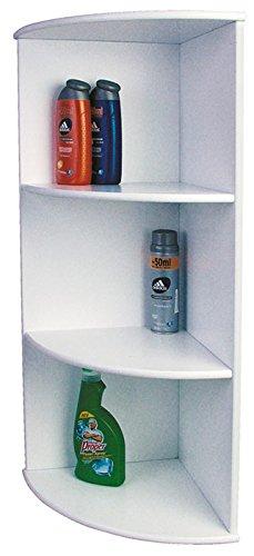 Mendler Badezimmer-Eckregal Badregal Regal, weiß, 80x30x30cm