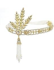 Remedios (5 Farben) Der große Gatsby Inspired Perle Anhänger Hochzeit Stirnband Kopfschmuck , Golden + Elfenbein-Band