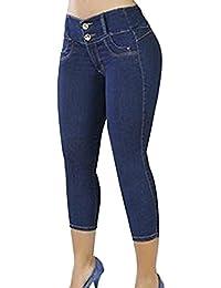 Capri Jeans Femme Rétro Taille Haute Push Up Skinny 3 4 Pantalons Pantacourt 2ec7a2b25d82