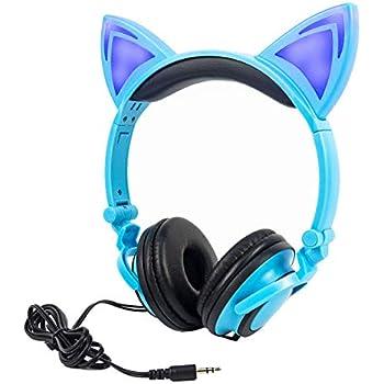 LIMSON Headphones Folding Enfants Casques, Sur Headset d'Oreille Avec LED Lumière Emettant