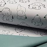 0,5m Softshell Elefanten weiß - Fleece-Rückseite in Mint