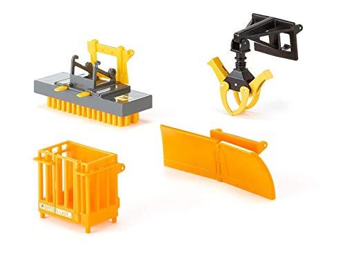 SIKU 3661, Frontlader Anbaugeräte, 1:32, Metall/Kunststoff, Orange, Bewegliche Teile