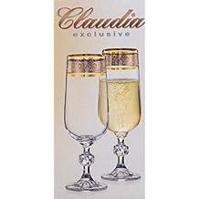 Exclusive Bohemia Cristal 6 copas de Champán con el grabado de plata, con el borde del oro, 200 ml
