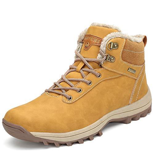 Pastaza Winterschuhe Männer Warme Winterstiefel Herren Gefüttert Stiefel Outdoor rutschfest Wanderstiefel Wasserdicht Schneestiefel Gelb, 45