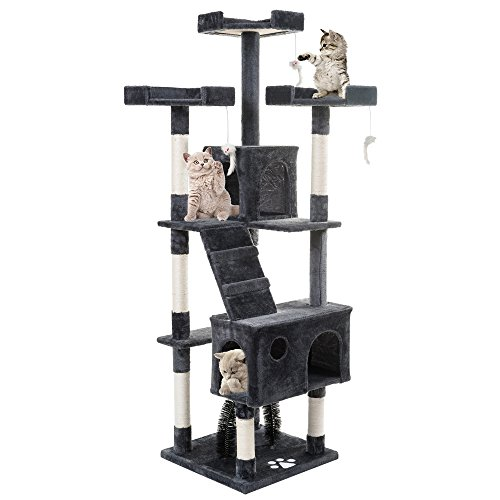 PURLOVE® 175cm 3 Platform Cat Tree with Scratching Post Pet Cat Arch Scratcher Activity Tree Cat Climbing Play Tower Tree (Grey)