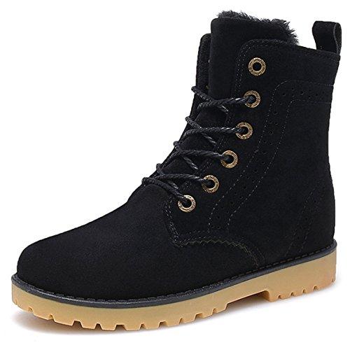 Gaatpot Damen Schnür Stiefeletten Warm gefütterte Combat Boots Leder Winter Stiefel Schuhe Schwarz 38 EU