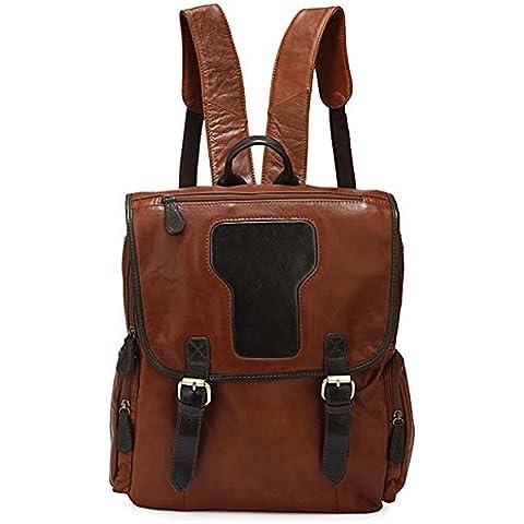 E-Bestar Zaino Backpack Cartella in vero cuoio genuino Pelle Vintage per Scuola Viaggi computer portatile
