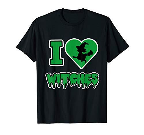 Funny Halloween Hexe I Love Witches Herz Besen Damen Herren  T-Shirt