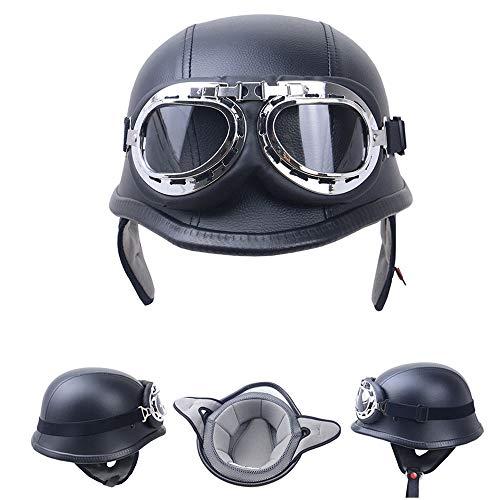 HWJF Motorrad-Halbhelm mit offenem Gesicht aus PU-Leder mit Fliegerbrille Vintage Jet-Helm-Cruiser Wehrmacht Stahlhelm DOT-zertifizierter Moto Army-Style (Mattschwarz),L