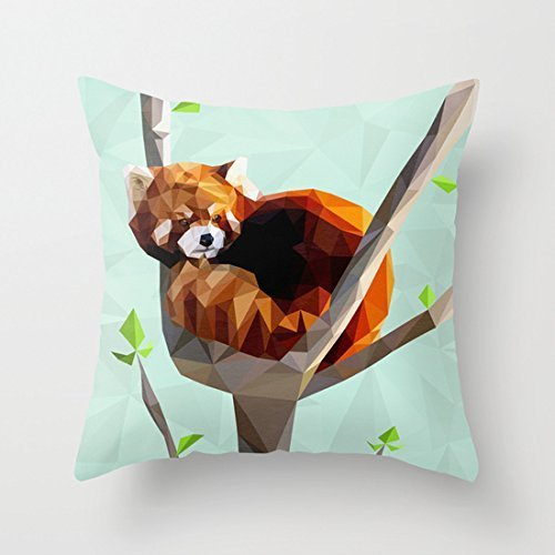 GONIESA New Red Panda Throw Pillow Cover Stylish,Decorative,Unique,Cool,Fun,Funky Beauty POP 12x12 Inch/30cmx30cm Funky Fringe