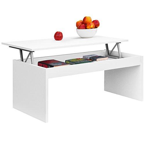COMIFORT Table Basse avec Plateau Relevable - Table de Salon Fonctionelle avec Rangement, Moderne, Élégante, avec 2 Pieds Résistants, Écologique, Blanc