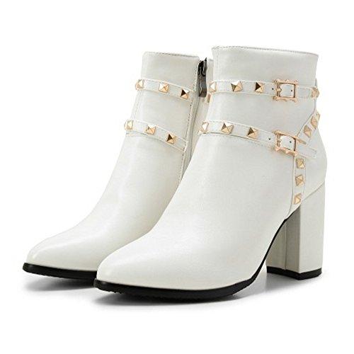 Bloco Senhoras Alto De Salto Fivela Simples Coolcept Rebites De Tiras Vendas E Sapatos De Brancos Em Botas Zipper Martin Elegantes Com vpvwrYq