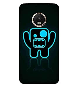 For Motorola Moto G5 Plus blue cartoon, roar cartoon, black background Designer Printed High Quality Smooth Matte Protective Mobile Case Back Pouch Cover by APEX