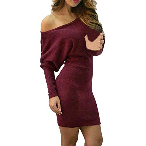 Shinekoo Femmes à Manches Longues épaule Tricoter Base Sweater Robe Longue Tops Vin rouge