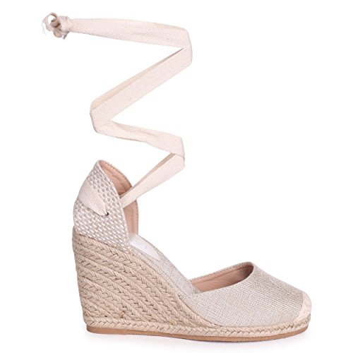 Linzi Fearne - Beige Canvas Closed Toe Espadrille Wedge with Tie up Straps