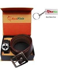 RedFish Stylist Wrist Men Watch And Brown Belt Combo - (RDF-1005-EY)