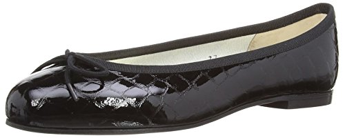 French Sole Henrietta Crocodile Effect, Brogues Femme Noir (Black)