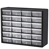 Akro-Mils 24 Drawer 10124, Plastic Parts Storage Hardware and Craft Cabinet, (20-Inch x 6-Inch x 16-Inch), Black (1-Pack)