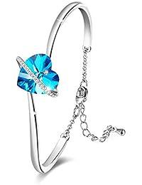 e87a6339db48 Brazalete Azul con Pulseras Love Heart para Mujeres con Cristales de  Swarovski