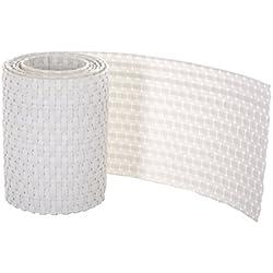 GARTENFREUDE 4 Stück Polyrattan Streifen Sichtschutz Zaun 2,53m x 0,19 m, weiß
