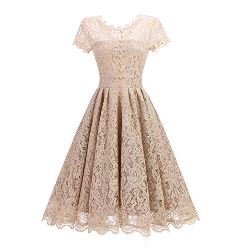 BYSTE Abito Vintage Vestito Pizzo Floreale Elegante Cerimonia Manica Corta Vestiti, Swing Vestito da damigella d'onore Party matrimonio Abiti Beige