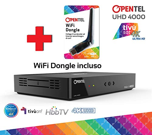 OPENTEL UHD 4000 TVS WIFI Ricevitore Satellitare 4K UHD con HbbTV - primo ricevitore tivùsat in 4K UHD con nuovo standard servizi interattivi HbbTV e WiFi Dongle incluso