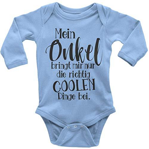 t Spruch für Jungen Mädchen Unisex Langarm Mein Onkel bringt Mir nur die coolen Dinge bei   handbedruckt in Deutschland   Handmade with Love, Farbe:Sky, Grösse:62 ()