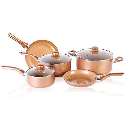 Juego utensilios cocina recubrimiento cobre 8 piezas