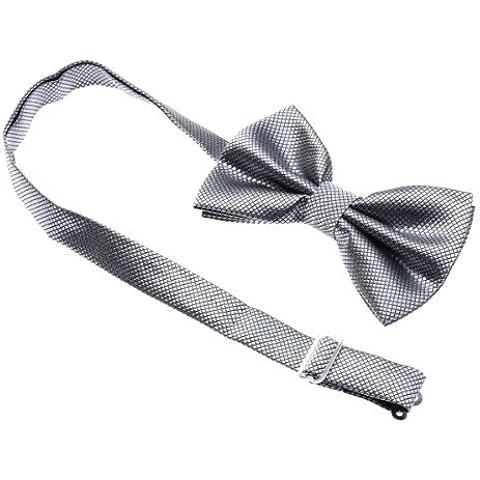 Gleader Corbata de Lazo Pajarita Bow Tie para Traje Formal Hombre Fiesta Color a Elegir - plata