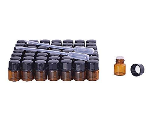 Furnido 30 Stck Mini Bernstein Glas Aromatherapie Wesentlich Öl Flasche Öffnung Braun Prüfung Flasche Reduzierer & Deckel Klein Wieder auffüllbar Probe Flaschen Glas Fläschchen Kunststoff -2 Stck 3ml Transfer Pipette inbegriffen (1ml) (Kleine Probe-fläschchen)