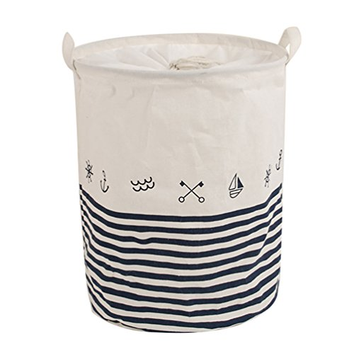 Dooxi Multifunktionale Groß Rund Schmutzige Kleidung Wäschekörbe Kinder Spielzeug Aufbewahrungskorb aus Stoff Faltbarer Wäschekorb mit Henkel mit Deckel