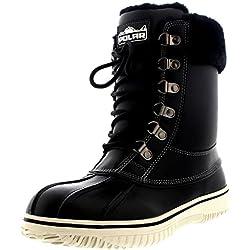 Polar Mujer Genuina Piel De Oveja Australiana Cuff Invierno Nieve Impermeable Zapatos Botas - Negro Cuero - UK7/EU40 - YC0471