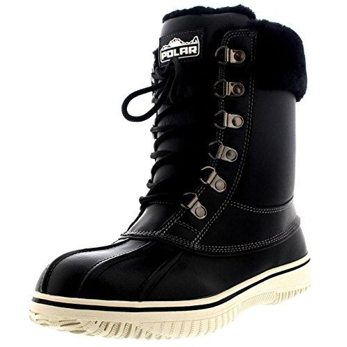 Polar Damen Echten Australischen Schaffell Cuff Winter Schnee Gehen Wasserdicht Schuhe Stiefel - Schwarz Leder - UK5/EU38 - YC0471 (Wellies Spitze)