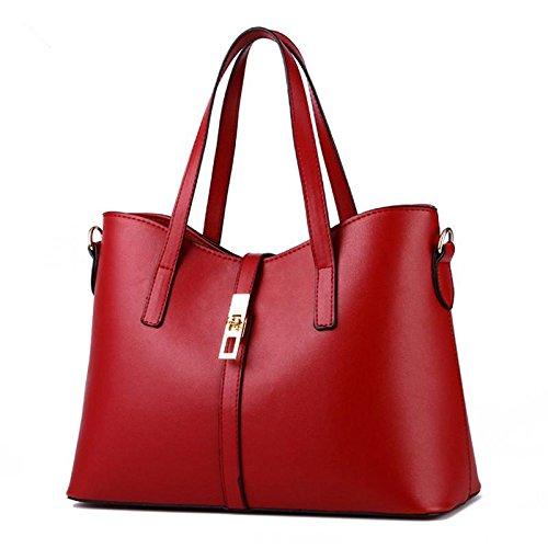 LDMB Damen-handtaschen PU Leder mehrfarbig einfachen Stil OL Commuter Frauen Schulter Handtasche Messenger wine red