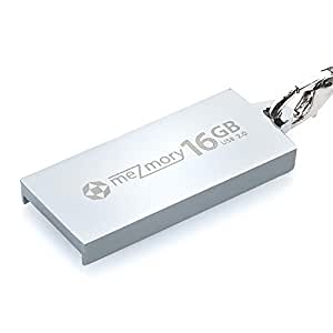 meZmory 16GB Mini USB 2.0 Speicherstick Schlüsselanhänger aus Edelstahl. Mit Anhänger Kette Wasserdicht & Stoßfest - Silber