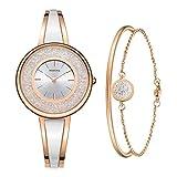 MAMONA - Reloj de Pulsera y Pulsera para Mujer, Tono Oro Rosa, Juego L3889RGGT