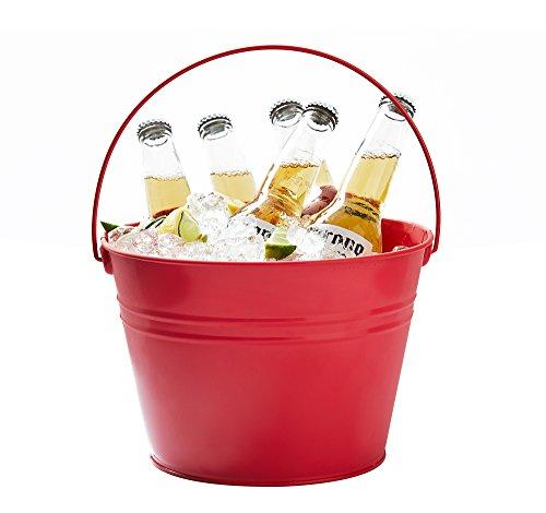 agner Eimer Eis, Party Dose Getränke Badewanne Weinflaschenkühler, groß, Rot, mit Griff ()