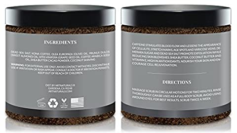 ArtNaturals Organic Arabica Coffee Scrub - 260 ml for Body and Face - for Varicose Veins, Cellulite, Stretch Marks, Eczema and Acne - Deep Skin