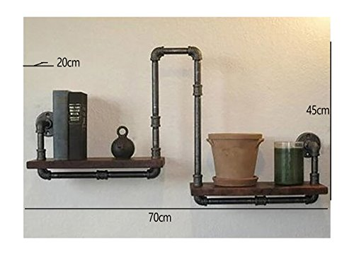 GJbgj Wandhalterung Regal Wand-Dekorationen LOFT Weinlese-Eisen-Wasser-Rohr-Regal-Wand-Regal Wandregale (Farbe : 1#, Stil : Industrial Retro)