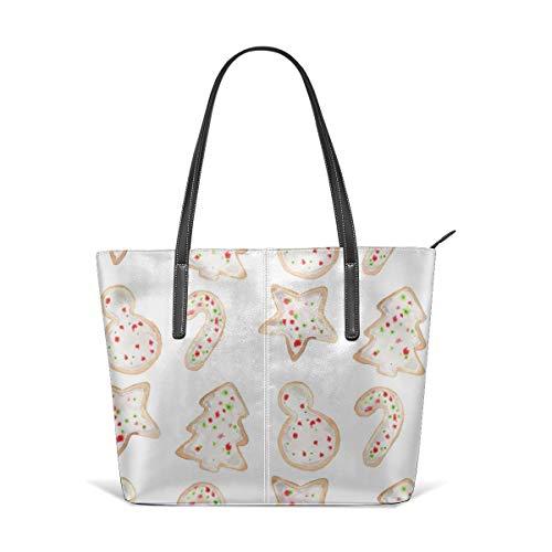 hulili Frauen aus weichem Leder Tote Umhängetasche Holiday Cookies bestreut Mode Handtaschen Satchel Geldbörse -