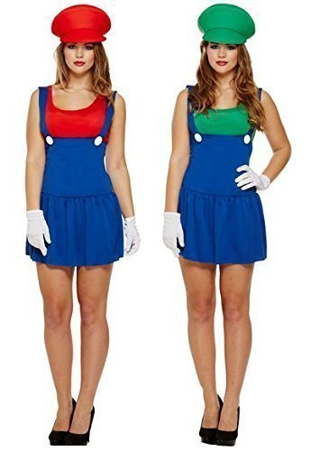 Mario Und Outfit Luigi (Paar Damen Super Mario UND Luigi Klempner 1980s Kostüm)