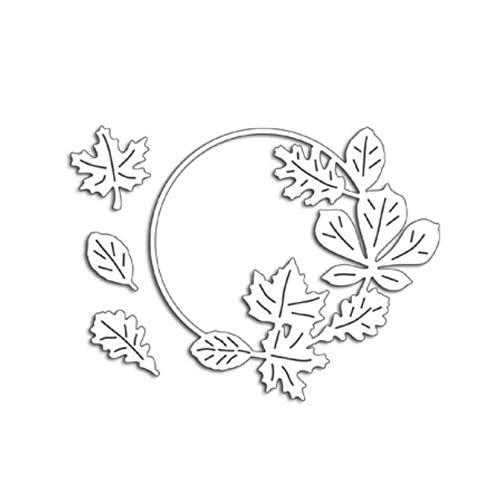 DHLZ Herbst Kranz Metall Stanzformen Scrapbooking Handwerk Stanzformen Schnitte dünnes Papier Kunst Reliefkarte Machen Maple Leaf Schablone -