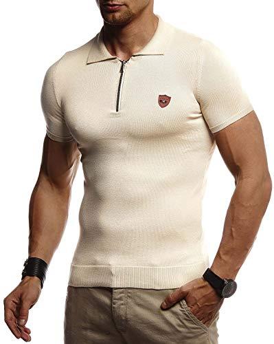 Kurzarm Vintage Poloshirt (LEIF NELSON Herren Sommer T-Shirt Poloshirt Slim Fit aus Feinstrick | Cooles Basic Männer Polo-Shirt Crew Neck | Jungen Kurzarmshirt Polo Shirt Sweater Kurzarm | LN20753 Beige Large)