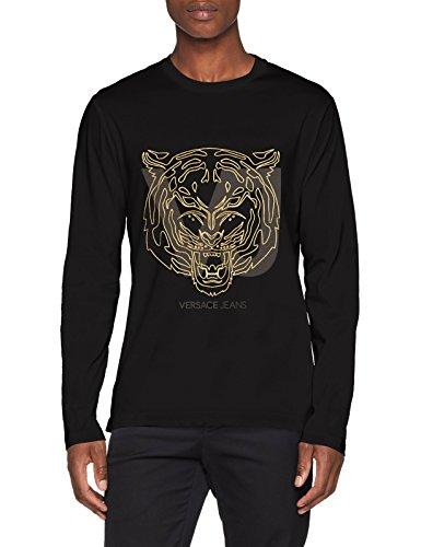 Versace jeans man t-shirt, maglietta a maniche lunghe uomo, (nero+eco oro pallido ey6a), medium (taglia produttore:m)