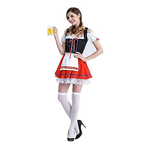 Nibesser Femme Halloween Cosplay Costume Robe Set de Dirndl Bavarois Oktoberfest Tablier Serveuse
