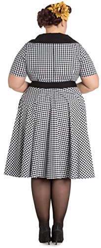Hell Bunny BRIDGET Kurzarm PEPITA Gingham 50s Kleid / DRESS Plus Size Rockabilly Schwarz / Weiß