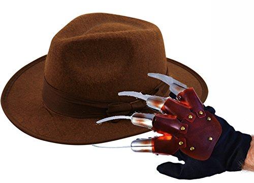 Party Central - Guanti e cappello da Freddie Krueger, da adulto, per travestimento di Halloween